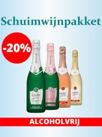 Proefpakket Schuimwijn Cava Champagne Prosecco Sekt bubbels proeven testen smaken alcoholvrij